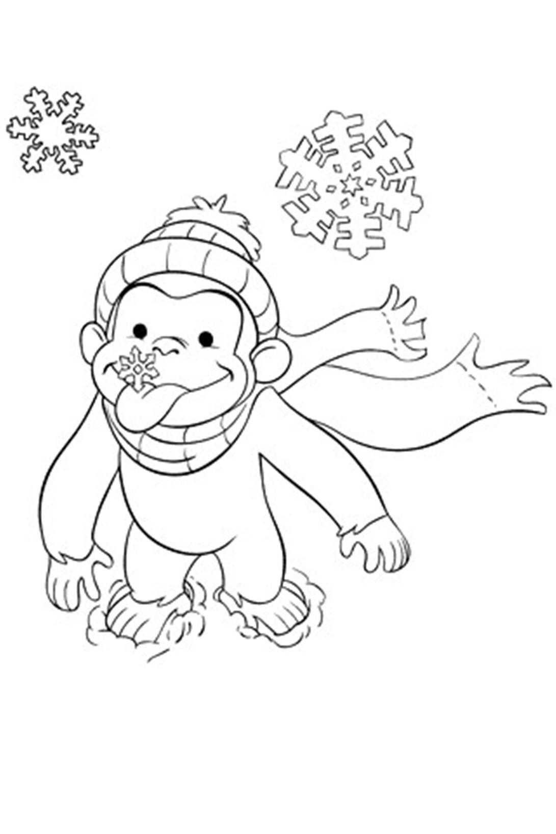 Обезьянка ловит снежинки Раскраска зима распечатать