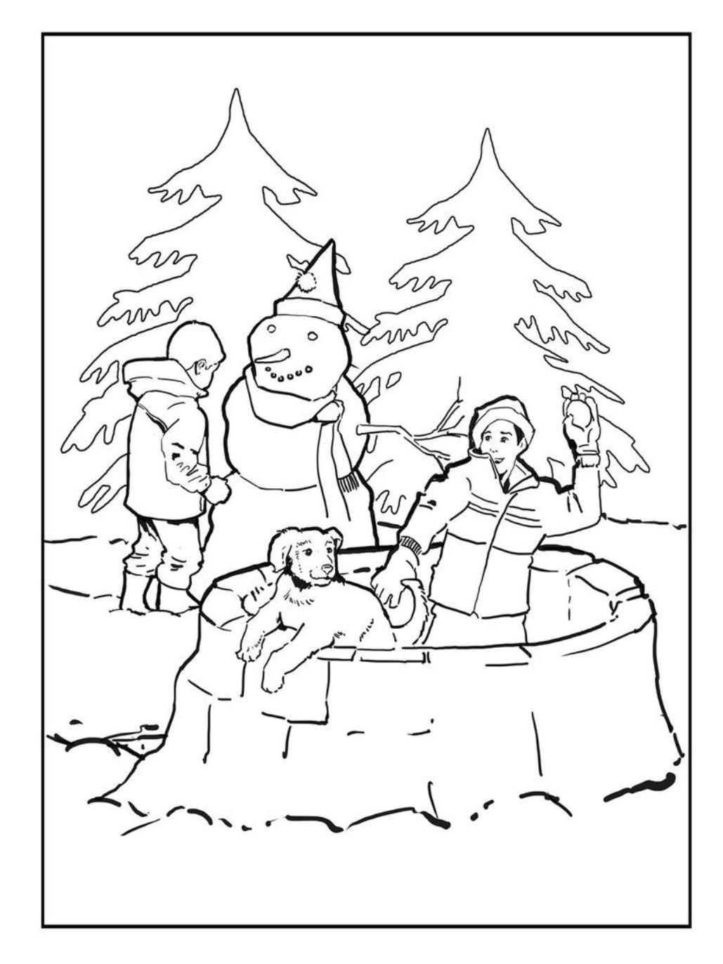Снежный бой Раскраска зима распечатать