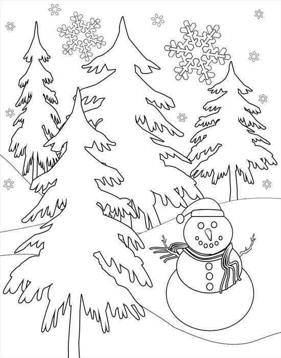 Снеговик в лесу Раскраска зима распечатать