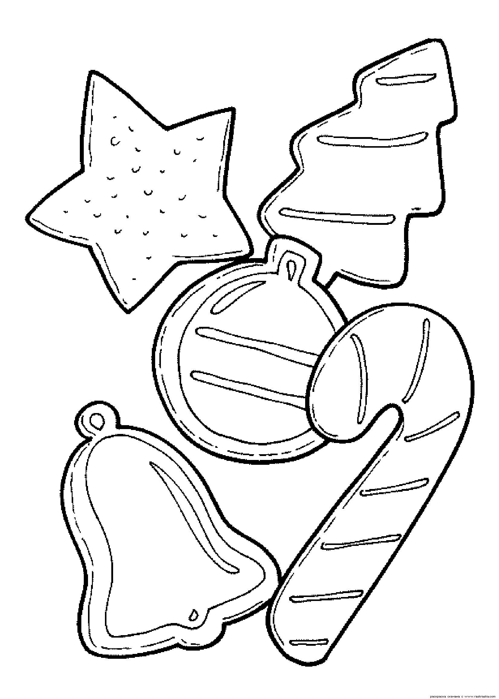 Новогодние игрушки, елочка, колокольчик Зимние раскраски для мальчиков