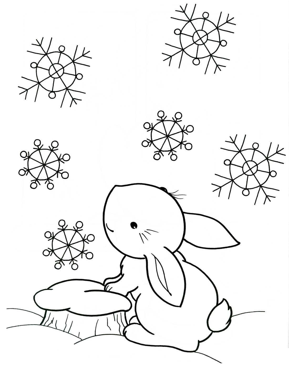 Заяц под снегом Раскраска зима распечатать
