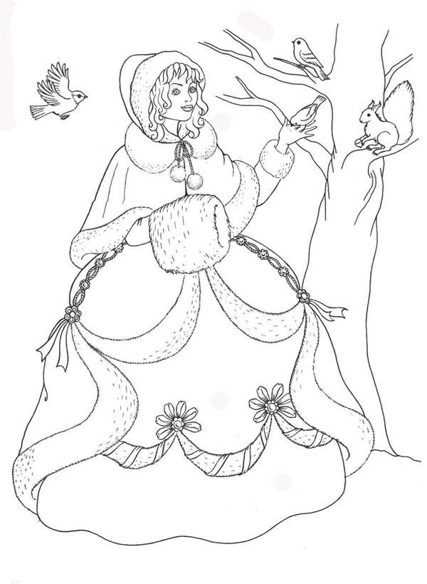Королева зима Детские раскраски зима распечатать