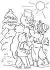 Дети наряжают снеговика Рисунок раскраска на зимнюю тему