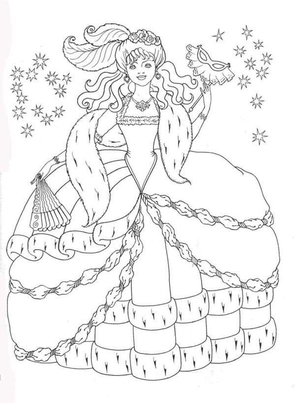 Девушка в карнавальном костюме Раскраски про зиму для детей