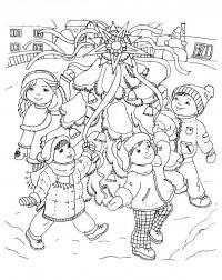 Хоровод Раскраска зима