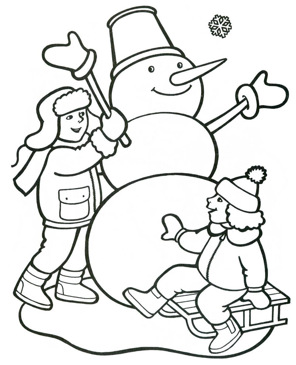 Раскраски детей снеговик