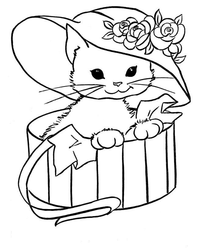 Котенок в подарок Детские раскраски зима распечатать