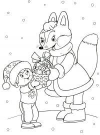 Открытка, лисичка дарит подарок мальчика Детские раскраски зима распечатать