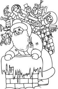 Открытка, дед мороз с корзинкой подарков возле трубы Детские раскраски зима распечатать