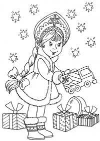 Открытка снегурочка дарит подарки Детские раскраски зима распечатать