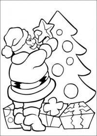 Открытки с дедом морозом, наряжающим елку Раскраска зима пришла