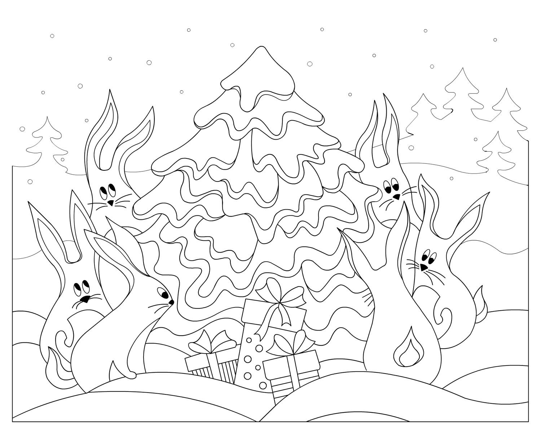 Открытка, кролики водят хровод Раскраска сказочная зима