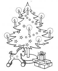 Открытки, елочка с горящими свечками Раскраски на тему зима