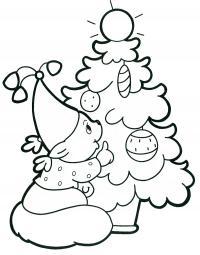 Открытки бельчонок у елки Детские раскраски зима распечатать