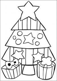 Открытки, украшенная елочка Раскраски на тему зима