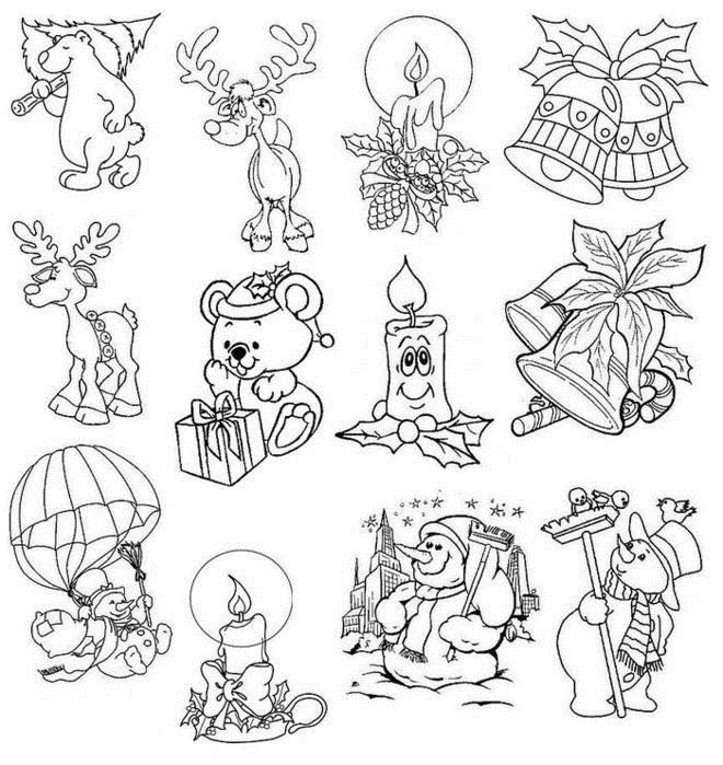 Открытки, шаблоны для картинок на открытку Раскраска сказочная зима