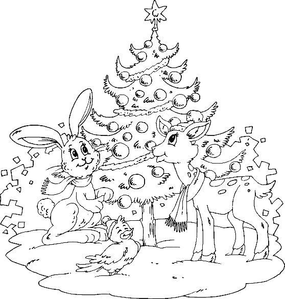 Открытки с хороводом зверей Раскраски про зиму для детей