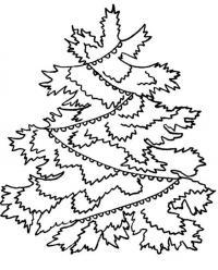 Открытка с наряженной в гирляды елочкой Раскраски на тему зима