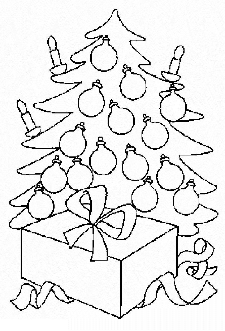 Открытка с большим подарком под елкой Раскраски на тему зима