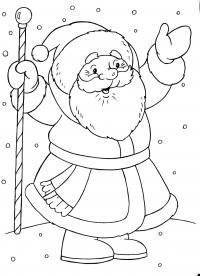 Открытка, дед мороз поздравляет всех с новым годом Раскраска зима пришла