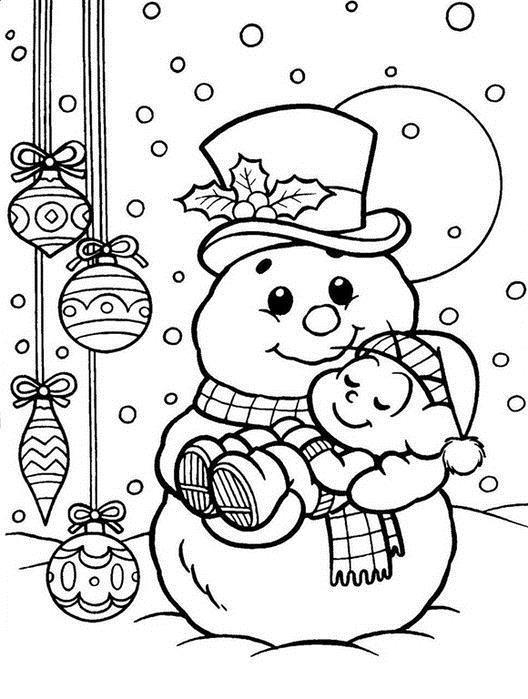 Открытки, снеговик с медвежонком Рисунок раскраска на зимнюю тему