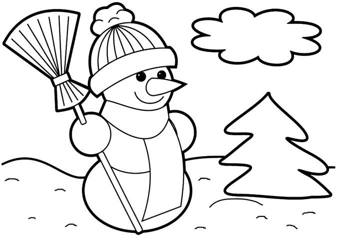 Снеговик в шапке с метлой Детские раскраски зима распечатать