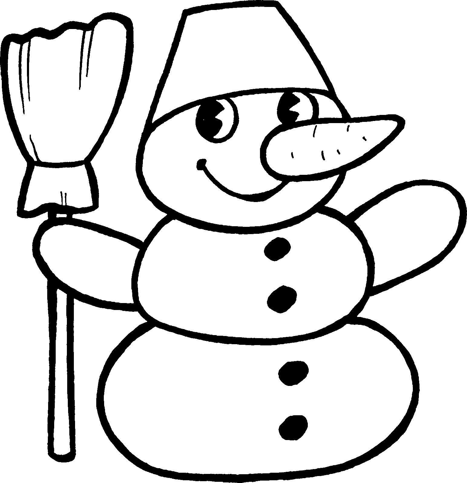 Снеговик для малышей Раскраски про зиму для детей