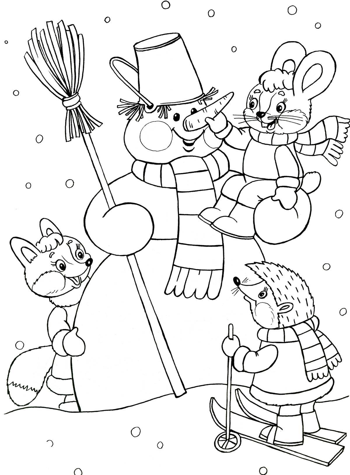 Снеговик и зверята Детские раскраски зима распечатать