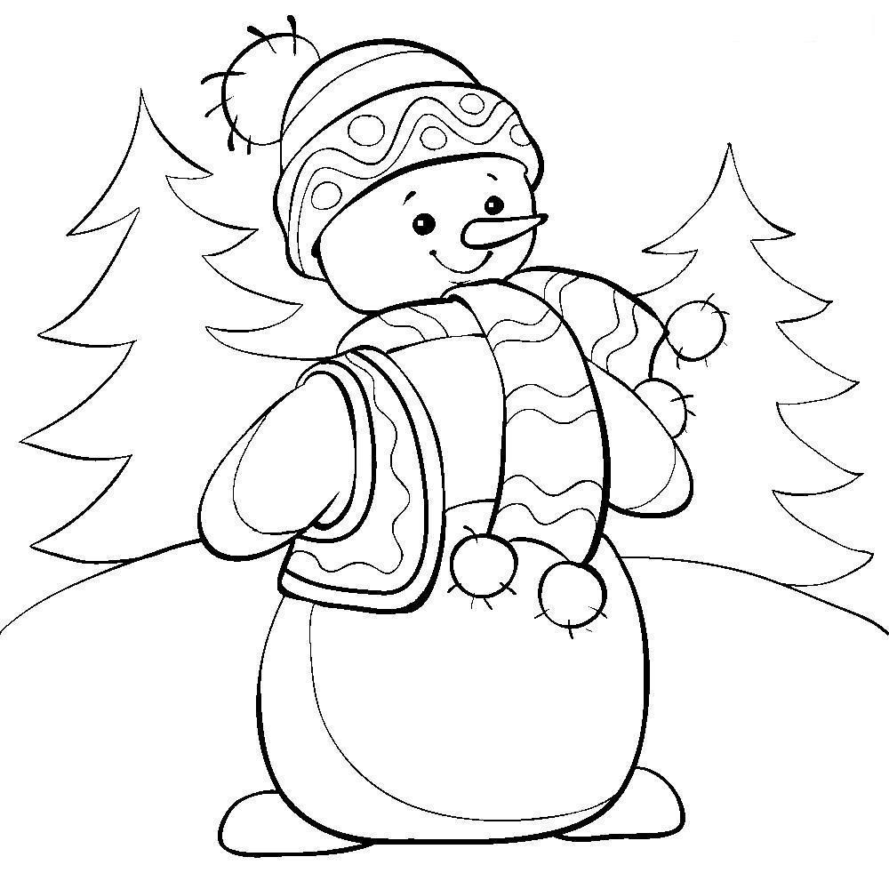 Снеговик Рисунок раскраска на зимнюю тему