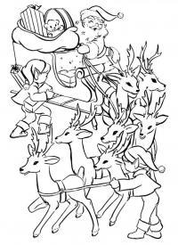 Санта клаус в оленьей упряжке и эльфы Детские раскраски зима распечатать