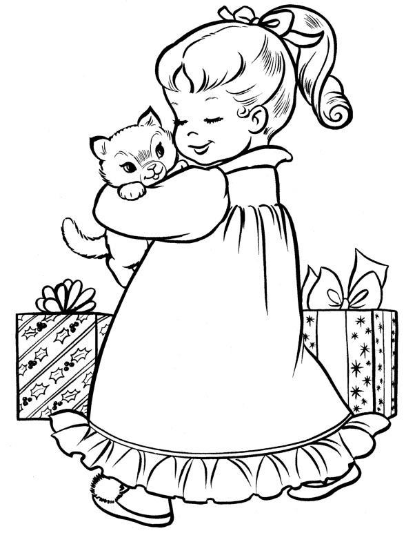 Котенок в подарок Рисунок раскраска на зимнюю тему