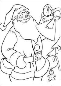 Дед мороз украшает елку Детские раскраски зима распечатать