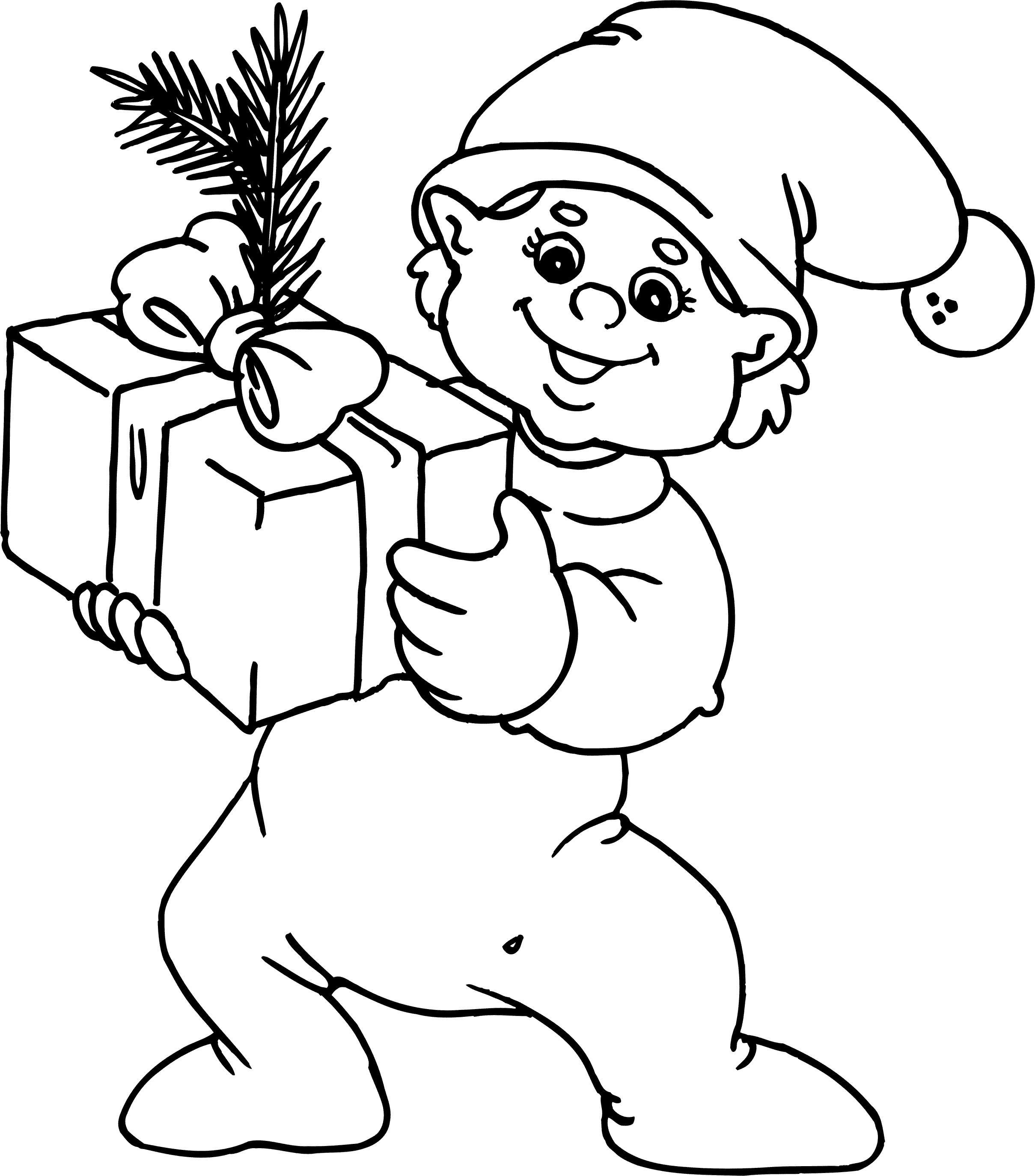 Малыш эльф с подарком Детские раскраски зима распечатать
