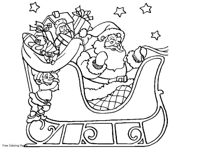 Санта и эльф в санях Детские раскраски зима распечатать