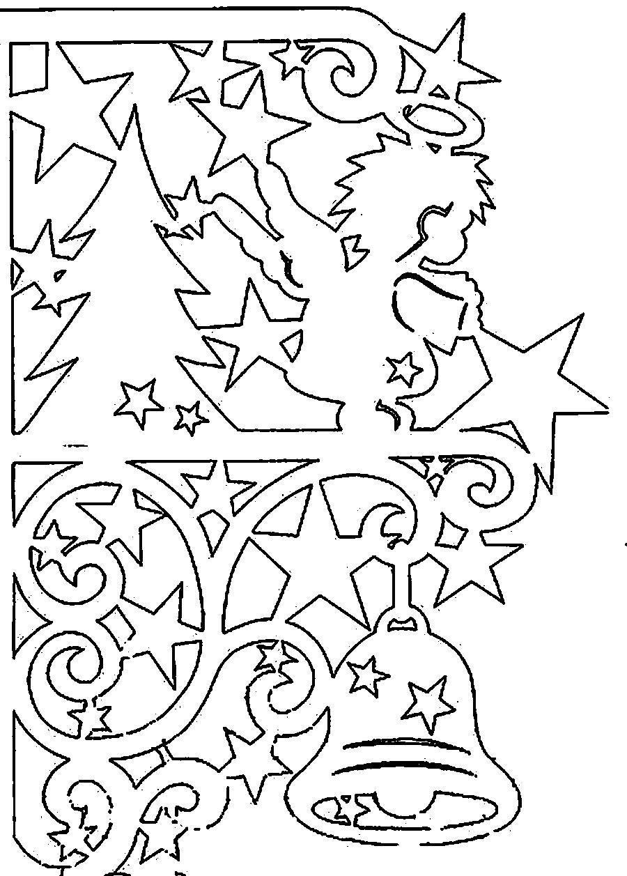 Шаблоны для открыток с ангелочком и колокольчиком Детские раскраски зима распечатать