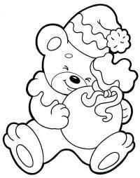 Медвежонок с подарком Раскраска сказочная зима