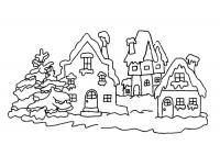 Зима, заснеженные избушки Детские раскраски зима распечатать