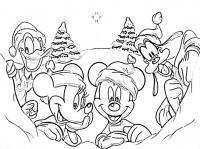 Зима с героями диснея Детские раскраски зима распечатать