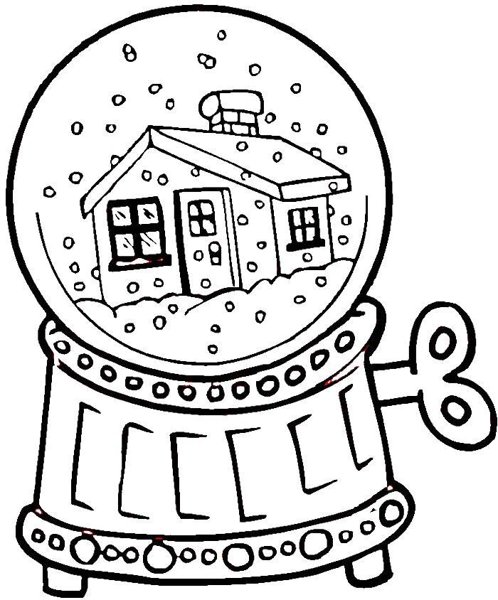 Домик под снегом в шаре Детские раскраски зима распечатать