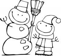 Эльф и снеговик Детские раскраски зима распечатать