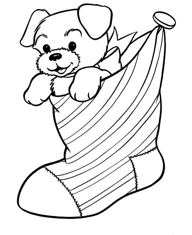 Щенок в подарок к рождеству собака Рисунок раскраска на ...