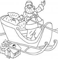 Дед мороз в санях Детские раскраски зима распечатать