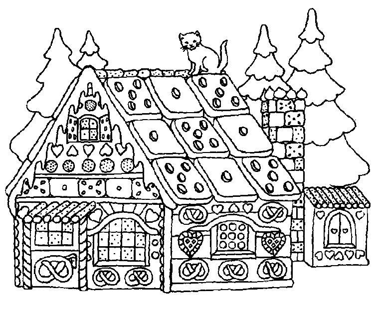 Избушка из плюшек и сладостей Детские раскраски зима распечатать