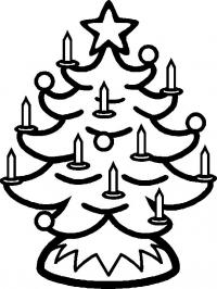 Новогодняя елка со свечками Детские раскраски зима распечатать