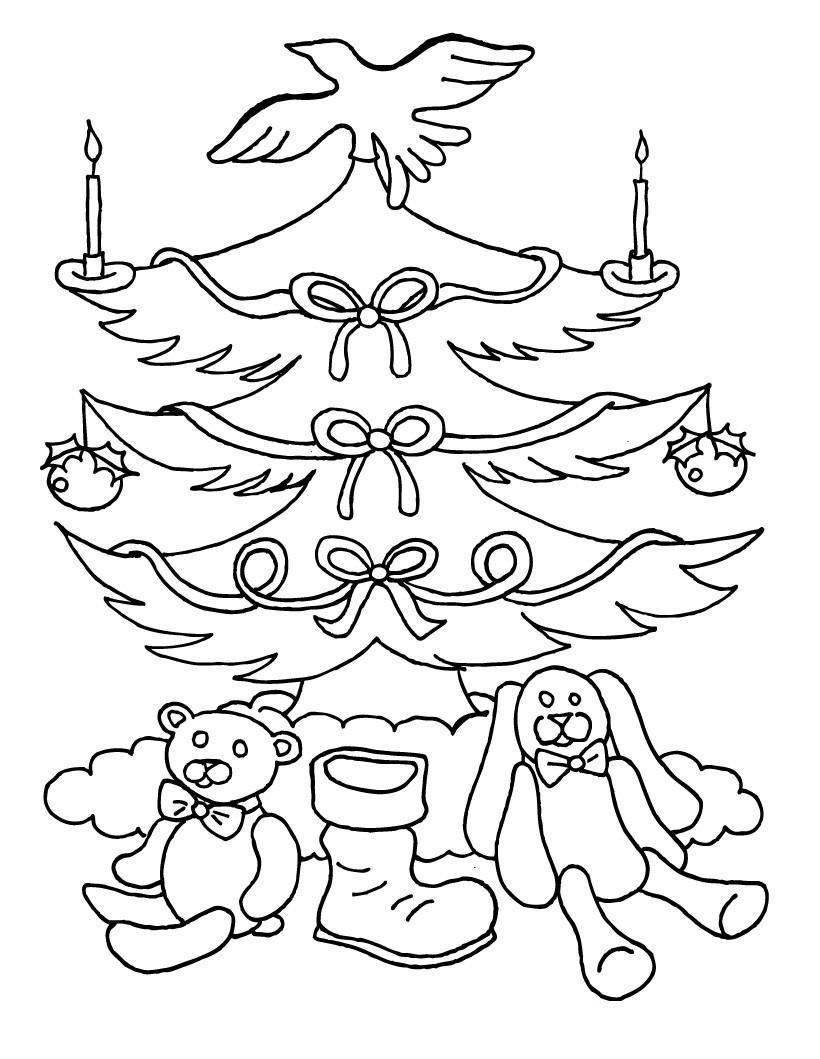 Новогодняя елка с голубком на вершине Детские раскраски зима распечатать
