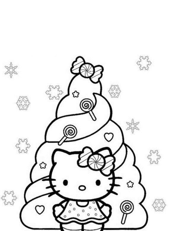 Новогодняя елка с китти Раскраски на тему зима