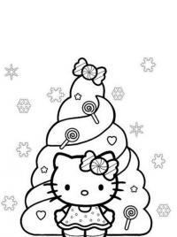 Новогодняя елка с китти Детские раскраски зима распечатать