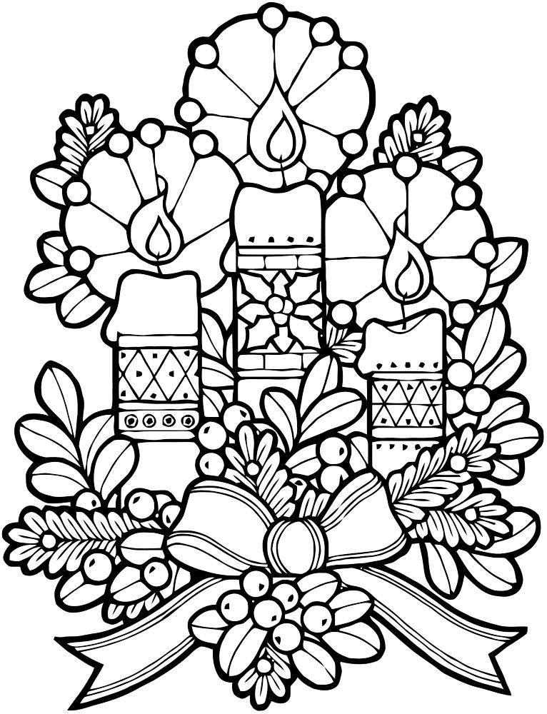 Новогодние свечи Детские раскраски зима распечатать