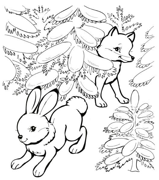 Зима в лесу Зимние раскраски для девочек