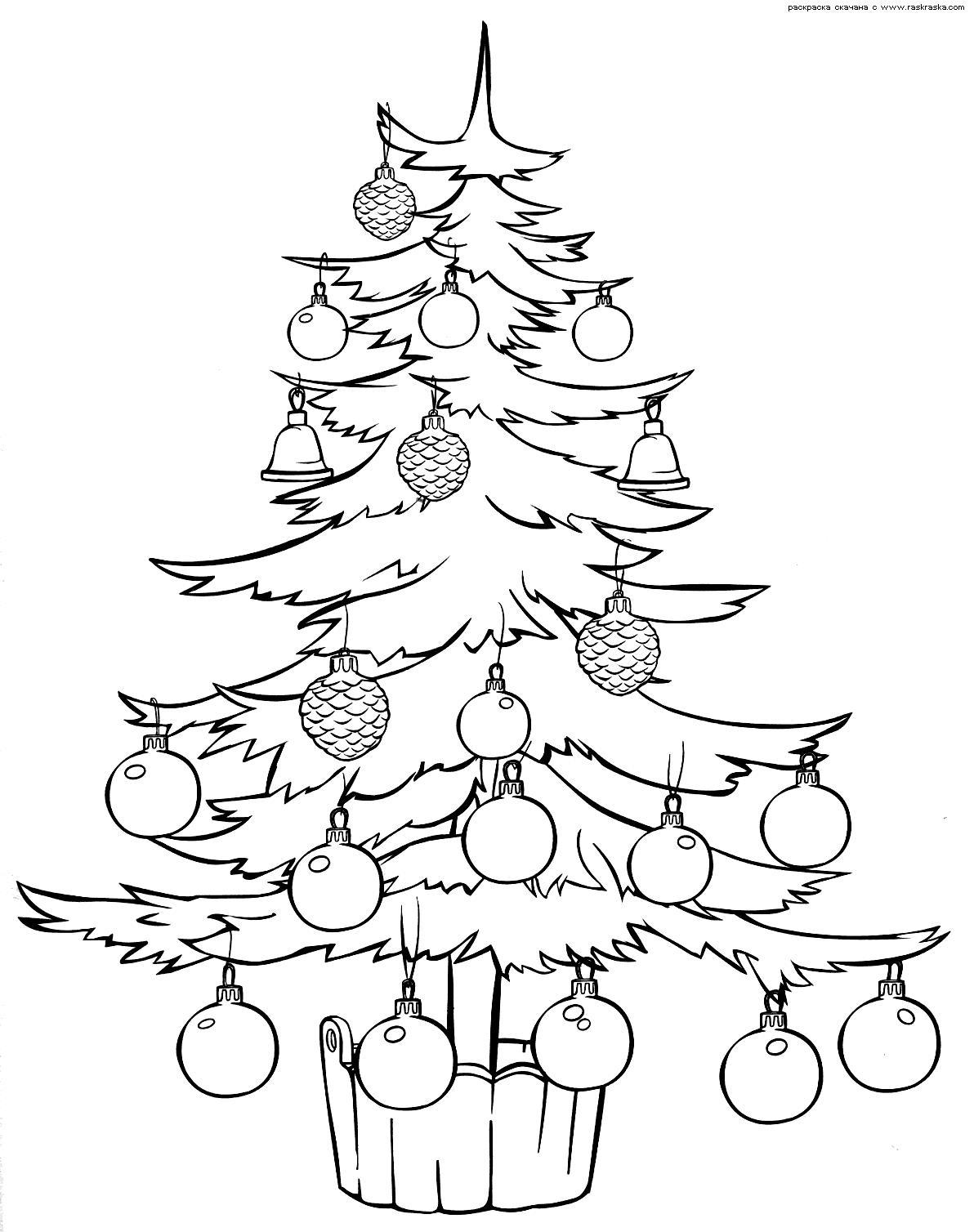Елочка украшенная шарами и шишками в деревянном ведре Раскраски на тему зима